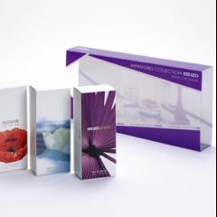 Coffret miniature, fourreau PET, ztui carton