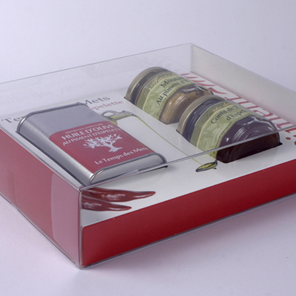 etui PET cale cannlure, packaging design, emballage promotionnel, coffret epicerie fine, réalisation sur mesure, fabrication asie, conception emballage, packaging, réalisation, production